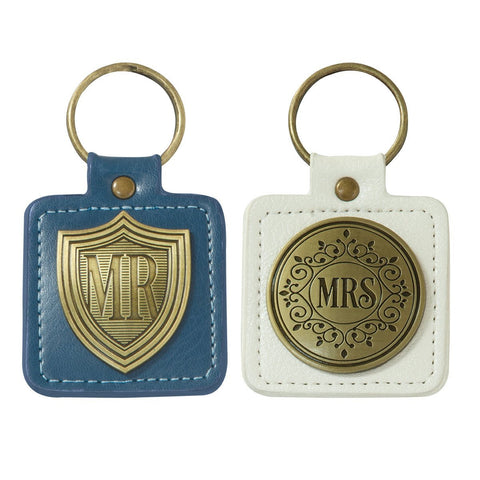 Mr and Mrs set of two Keyrings in Tin - Treehouse Gift & Home