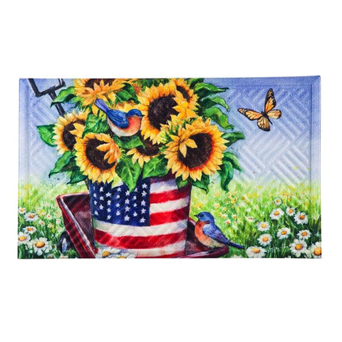 Patriotic Sunflower Wagon Embossed Floor Mat - Treehouse Gift & Home