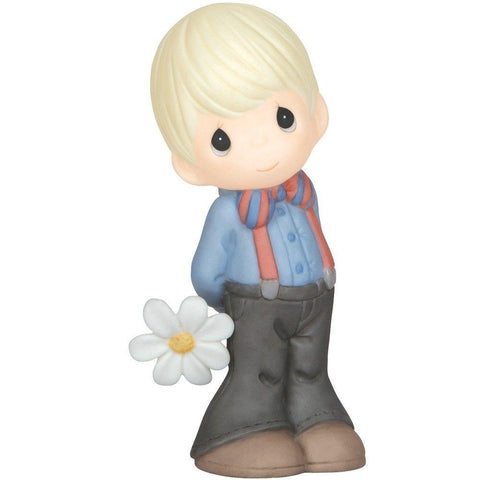 Precious Moments Boy Holding Daisy Figurine - Treehouse Gift & Home
