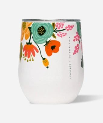 Stemless - 12 oz Lively Floral Cream - Treehouse Gift & Home