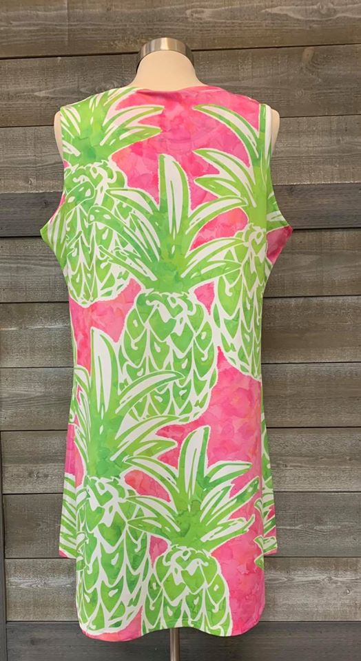 Pineapple Scoop Neck Dress