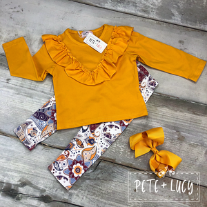 Mustard Long Sleeve Pant Set