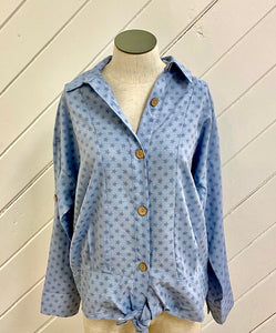 Front Tie Button Down Star Blouse
