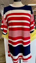 Red/White/Blue Boat Neck Striped Tunic