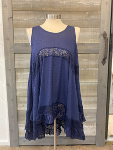 Navy Tank With Lace Detail