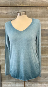 V-neck Long Sleeve Raw Hem Top