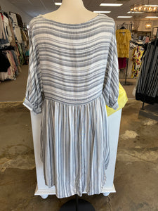 Gray and White Stripped Dress