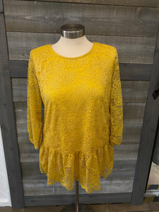 Mustard Lace Detailed Shirt