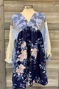Blue Floral Mix Print Dress