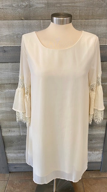 Ivory Lace Sleeve Detail Dress