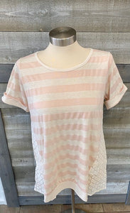 Pink/Wht rolled sleeve top
