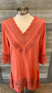 Rust V-neck Lace Tunic
