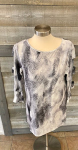 Cut Out Sleeve Galaxy Dye Sublimation Top