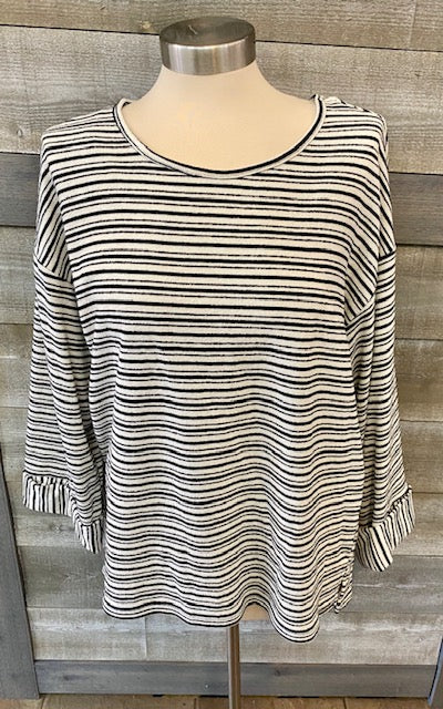 Black/White Striped Cuffed Sleeve Sweater