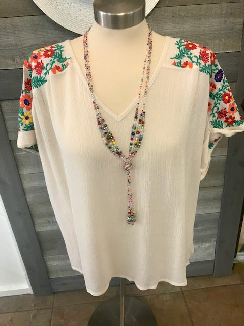 Embroidered Short Sleeve Boho Top