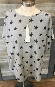 Dolman Stars Heather Top