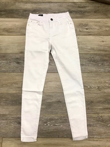 White Hi-Low Hem Skinny Jeans