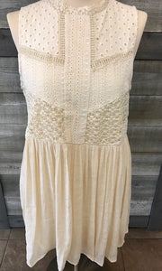 Ivory Crochet Patchwork Sleeveless Dress
