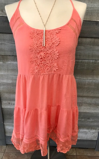 Cross Back Coral Strap Top