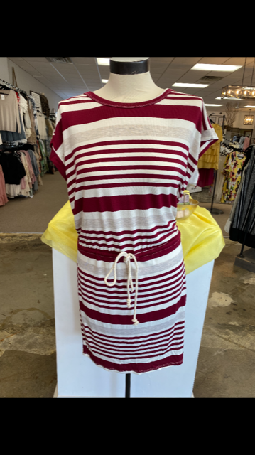 Red/Cream Nautical Drawstring Dress
