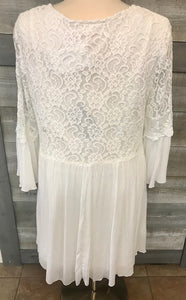 White 3/4 Sleeve Lace Tunic