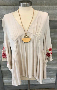 Tan Deep V-neck Embroidered Sleeve Top