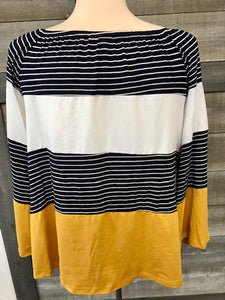 navy/wht/maize color block raglan sleeve top