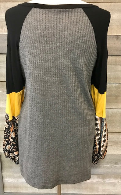 Grey printed raglan bubble sleeve top