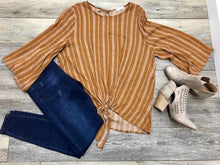 Fall Orange Bell Sleeve Front Knot Top