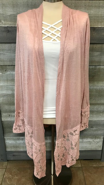 Dusty Pink Lace Cardigan