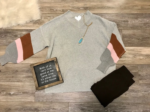 Grey Color Block Sleeve Sweater