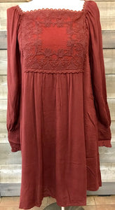 Maroon Lace Yoke Long Sleeve Top