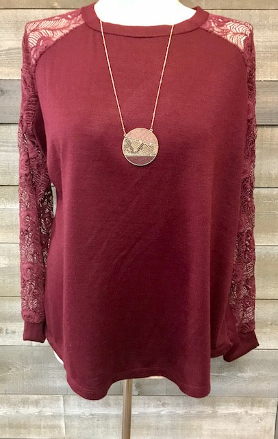 Burgundy Raglan Lace Sleeve Top