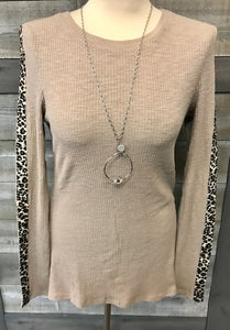 Long Sleeve Heavy Weight Top With Leopard Faux Fur Stripe