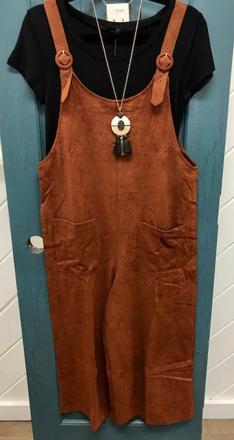 Brown Oversized Overalls With Pockets