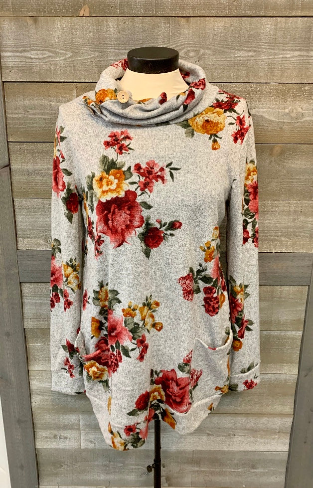 Floral printed heather sweater
