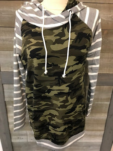 Camo and Grey striped hoodie
