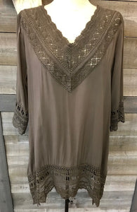 Olive Green Crochet Tunic