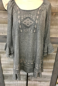 Chambray Embroidered Bell Sleeve Tunic
