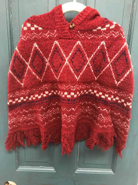 Kids Red Fringe Hooded Poncho