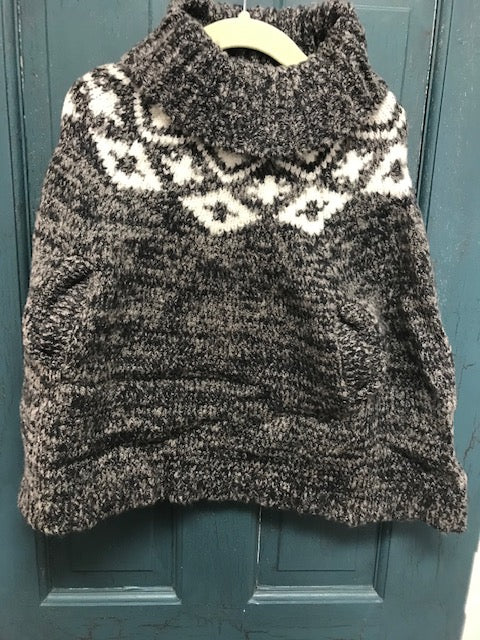 Kids Grey Cowl Neck Poncho