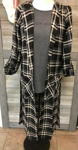 Long Plaid Cardigan