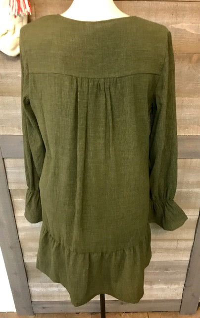 Olive Long Bell Sleeve Tunic