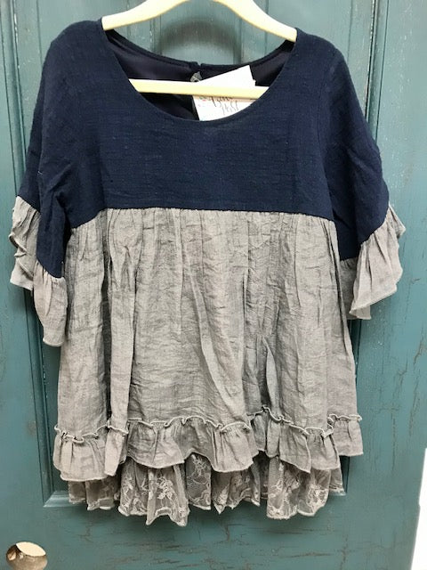 Kids Navy/Grey Bell Sleeve Tunic with Lace Hem