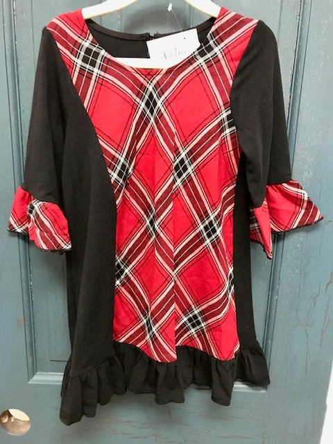 Kids Plaid Flare Sleeve Dress