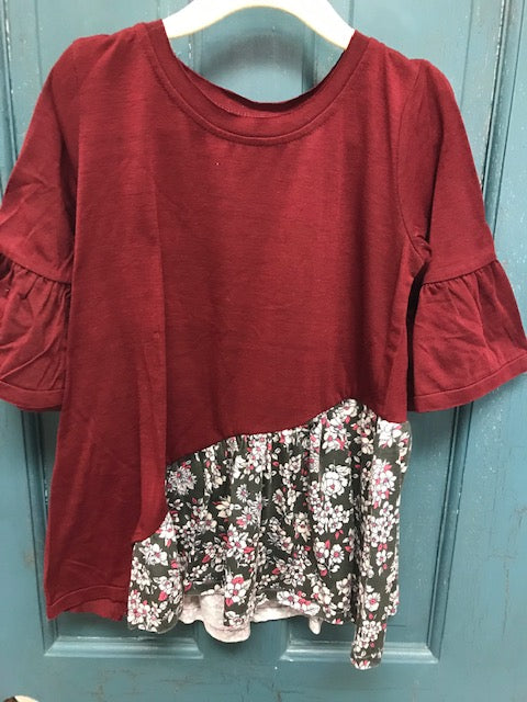 Kids Burgundy Tunic with Bell Sleeves and Fall Floral Design