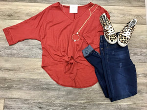 Cropped Front Knot Dolman Sleeve Top