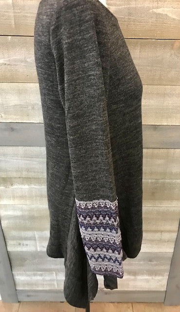 Grey Scoop Neck Sweater with Aztec Fabric Sleeves