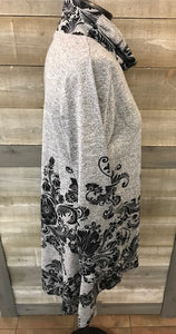 Grey Cowl Neck Tunic Dress with Black Print