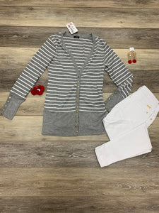 Gray/White Stripped Snap Cardigan